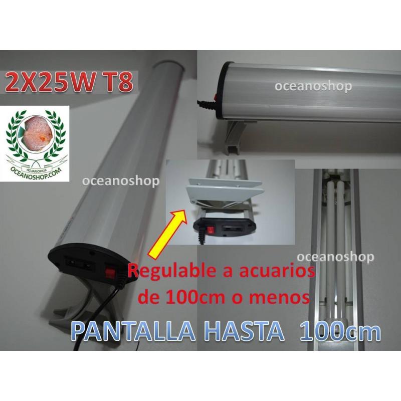 Pantalla acuario 2X25w SOBO T8 hasta acuarios de 101cm. Regulable.