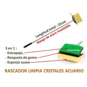 Rascador limpia cristales y algas 55cm