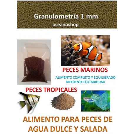 Alimento granulo 1mm agua dulce y agua salada