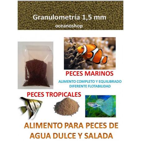 Alimento granulo 1,5mm agua dulce y agua salada
