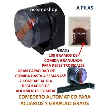 Alimentador comedero automático + 100GR DE GRANULO GRATIS