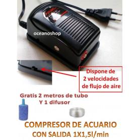 Compresor de aire + manguera 2 metros + 1 piedra difusora