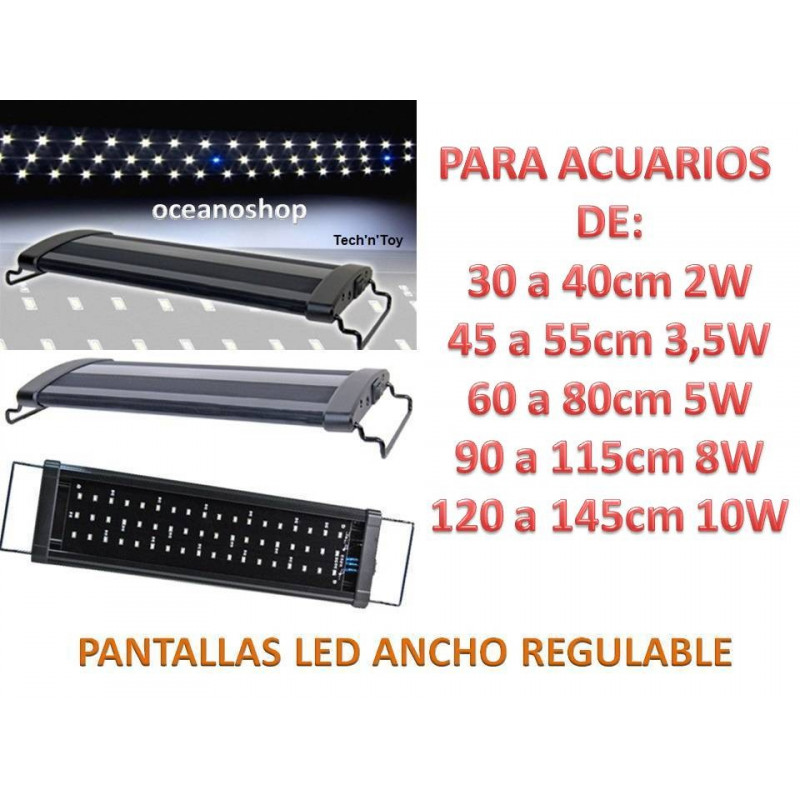PANTALLA ACUARIO DE 60 a 80cm LUZ LED BLANCOS y AZULES leds de 5 watios