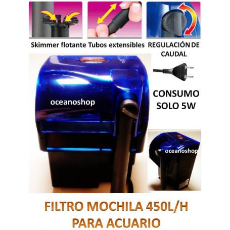 Filtro biologico mochila 450L/H Acuario Pecera