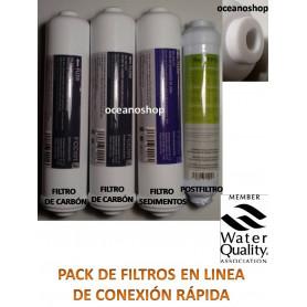 Juego 4 filtros osmosis inversa compacta en linea