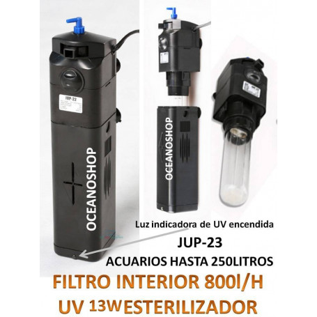 Filtro interior 800l/h lampara UV de 9W