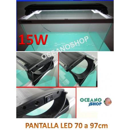 PANTALLA ACUARIO DE 80cm LUZ LED BLANCOS Y AZULES leds de 15W