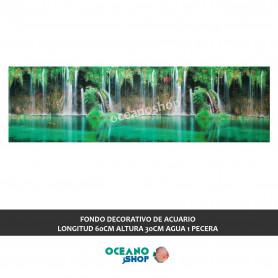 FONDO DECORATIVO de ACUARIO  longitud 60cm altura 30cm agua 1 pecera