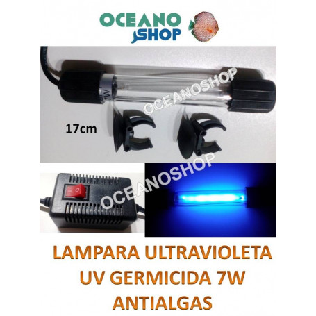 Lampara UV GERMICIDA 7W - 17cm SUMERGIBLE Clarificador Anti Algas