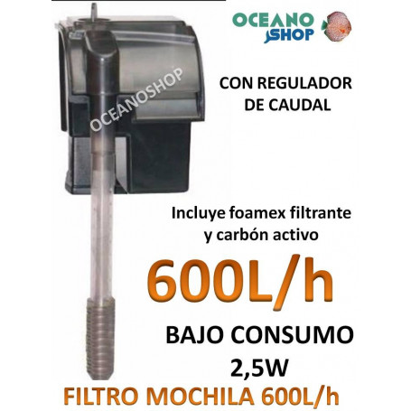 Filtro mochila 600l/h consumo 2,5w