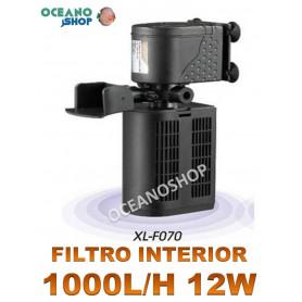 FILTRO Interior 1000L/h para Acuario con FOAMEX, 12W CONSUMOTortuguera, Gambario