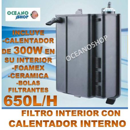 FILTRO 650L/H + CALENTADOR 300W INTERIOR´+ FILTRACION COMPLETO INTERNO