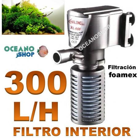 FILTRO Interior 300L/h Acuario con FOAMEX XL-666