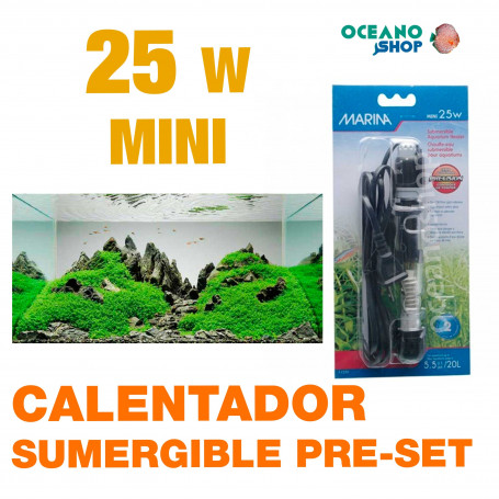 MINI CALENTADORES SUMERGIBLE PRE-SET MARINA - 25w
