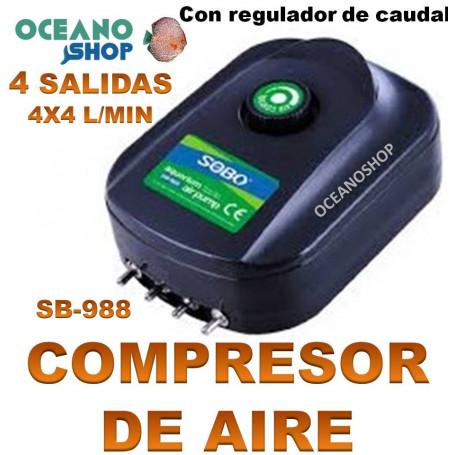 aireador sobo compresor sb988 aire acuario 4 salidas