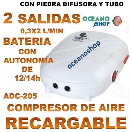compresor AIREADOR JENECA BATERIA RECARGABLE ADC 205 2 SALIDAS