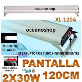 PANTALLA 100 cm LUZ ACUARIO PL 2X24W blanco PLANTADO guias regulables PL-100