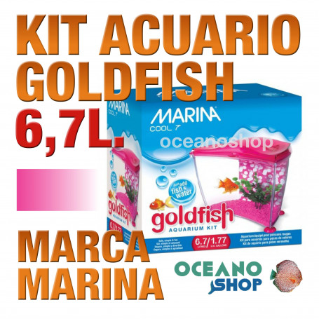 Acuario para Agua Fria Goldfish kit 6,7l MARINA - Rosa