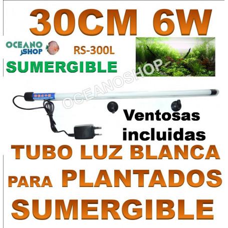 Tubo sumergible luz blanca 30cm 6w rs-300l
