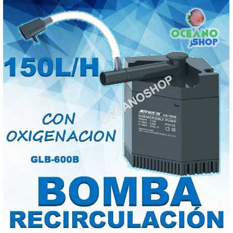 bomba recirculacion glb-600b jeneca esquina acuario 150 l/h