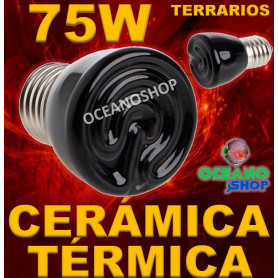 LAMPARA BOMBILLA 99% CALOR 75W CERAMICA TERMICA REPTIL terrario TORTUGA PAJARO