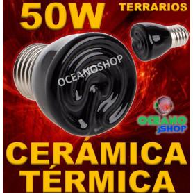 LAMPARA BOMBILLA 99% CALOR 50W CERAMICA TERMICA REPTIL terrario TORTUGA PAJARO