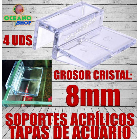 soporte acrilico tapas acuario 8mm cristal agarre