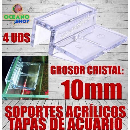 4 uds Soporte acrilico para tapas de acuario Vidrio de 10mm