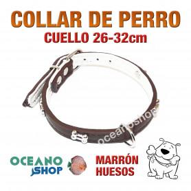 COLLAR PERRO PIEL MARRÓN ADORNO HUESO AJUSTABLE CUELLO 26-32cm L2 2945