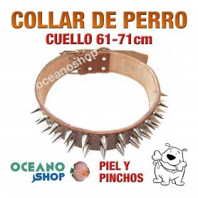 COLLAR PERRO PIEL MARRÓN DISEÑO PINCHOS AJUSTABLE CUELLO 61-71cm L4 2231