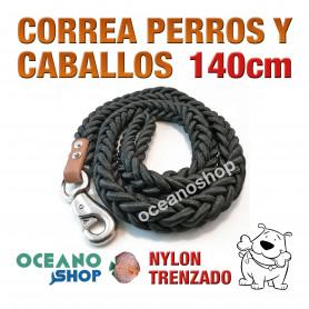 CORREA PERROS Y CABALLOS NYLON TRENZADO 140cm Longitud y 3cm Anchura L5 1989