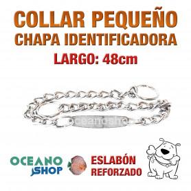 COLLAR 48cm PERRO CHAPA IDENTIFICADORA 2 MODOS NORMAL Y ESTRANGULADOR L15 1402
