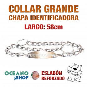 COLLAR 58cm PERRO CHAPA IDENTIFICADORA 2 MODOS NORMAL Y ESTRANGULADOR L16 1403