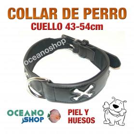 COLLAR PERRO PIEL Y HUESOS AJUSTABLE DE CALIDAD CUELLO 43-54cm