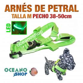 ARNÉS TALLA M LUMINOSO LED NYLON PETRAL AJUSTABLE PERRO PECHO 38-50cm