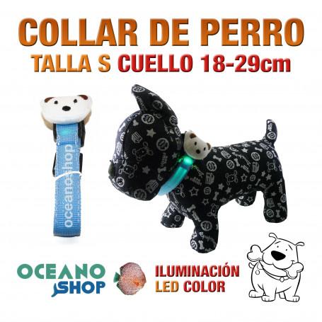 COLLAR CABEZA DE PERRO LED AZUL AJUSTABLE TALLA S CUELLO 18-29cm