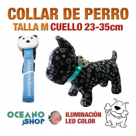 COLLAR CABEZA DE PERRO LED AZUL AJUSTABLE TALLA M CUELLO 23-35cm
