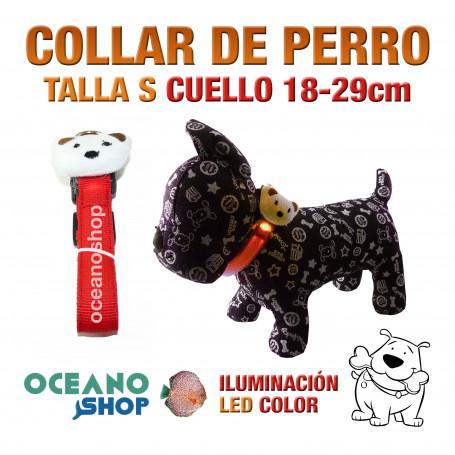 COLLAR CABEZA DE PERRO LED ROJO AJUSTABLE TALLA S CUELLO 18-29cm
