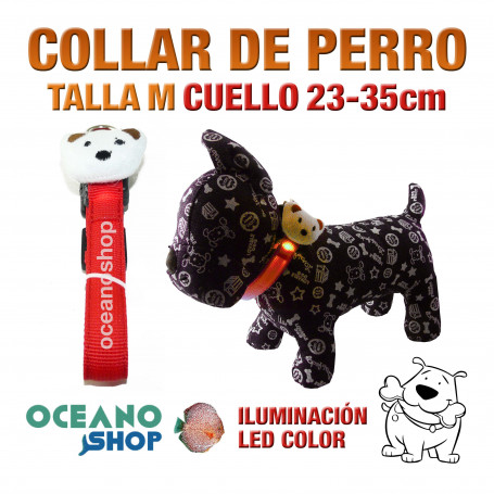 COLLAR CABEZA DE PERRO LED ROJO AJUSTABLE TALLA M CUELLO 23-35cm