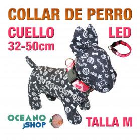 COLLAR PERRO CAMUFLAJE LED ROSA AJUSTABLE TALLA M CUELLO 32-50cm