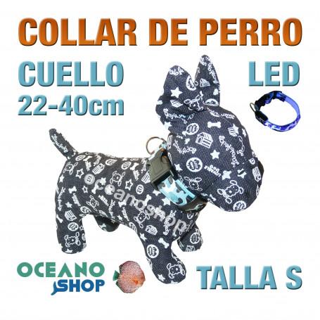 COLLAR PERRO CAMUFLAJE LED AZUL AJUSTABLE TALLA S CUELLO 22-40cm