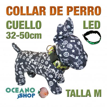 COLLAR PERRO CAMUFLAJE LED VERDE AJUSTABLE TALLA M CUELLO 32-50cm