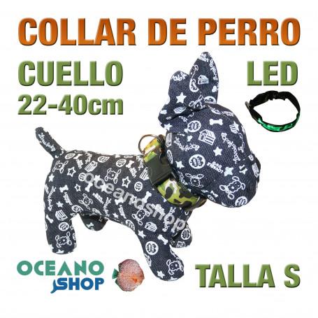 COLLAR PERRO CAMUFLAJE LED VERDE AJUSTABLE TALLA S CUELLO 22-40cm