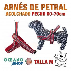 ARNÉS REFORZADO TALLA M PETRAL AJUSTABLE PERRO PECHO 60-70cm