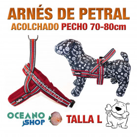 ARNÉS REFORZADO TALLA L PETRAL AJUSTABLE PERRO PECHO 70-80cm