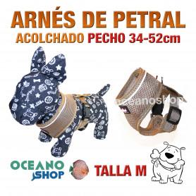 ARNÉS PETRAL ACOLCHADO Y CÓMODO AJUSTABLE PERRO TALLA M PECHO 34-52cm