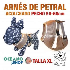 ARNÉS PETRAL ACOLCHADO CÓMODO AJUSTABLE PERRO TALLA XL PECHO 50-68cm