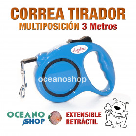 CORREA TIRADOR MULTIPOSICION NYLON 3 Metros ADIESTRAMIENTO PASEO PERRO