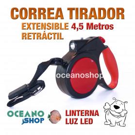 CORREA TIRADOR MULTIPOSICION NYLON Y LED 200x2cm ADIESTRAMIENTO PERRO