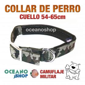 COLLAR PERRO CAMUFLAJE MILITAR AJUSTABLE DE CALIDAD CUELLO 54-65cm